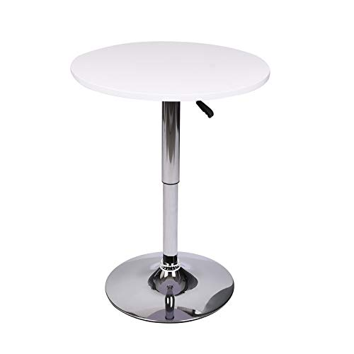 35 Inches Height Round Bar Table Adjustable Height Chrome Metal and Wood Cocktail Pub Table MDF Top 360°Swivel Furniture (White 1)