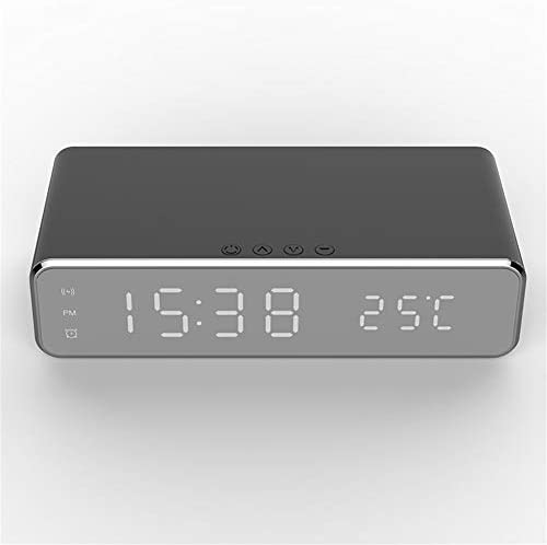 GULEHAY Wireless Charging Alarm Clock, Black Led Digital Alarm Clock with Qi Wireless Charging, Thermometer and HD Mirror Display