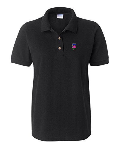 Speedy Pros Vermont State Flower Embroidery Polo Shirt Golf Shirt - Black, X Large
