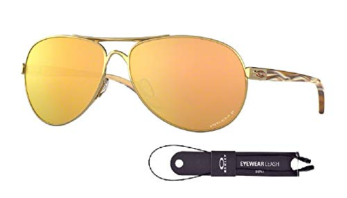 Oakley Feedback OO4079 407937 59M Polished Gold/Prizm Rose Gold Polarized Sunglasses For Women+BUNDLE with Oakley Accessory Leash ()