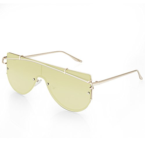 TWING Wholesale FashionOne Piece Flat Metal Frame Mirror Lens Oversized Sunglasses Stree Fashion M-10250-Gold-Silver - Amazon Gentle Monster Sunglasses