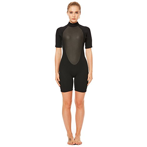 Flexel Wetsuit Shorty Women Surfing Suit Snorkeling Spring Suit Standup Paddling Wetsuits (3mm Black, M)