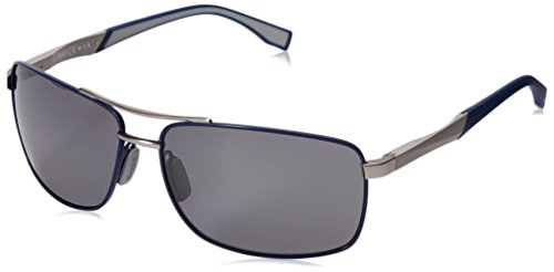 BOSS by Hugo Boss Men's B0697PS Rectangular Sunglasses, Blue Palladium/Brown/Mirror Shaded Silver, 63 mm