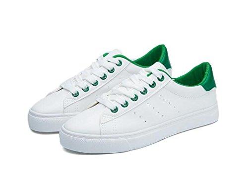 Sonriendo Señora Escuela Green Zapatos Blanco Día Compras Plano Nvxie Casual Abajo Alumnos Verde Movimiento Pu Cómodo 8dq8vUc