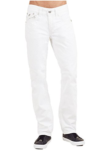 True Religion Men's Straight Super QT Stitch Jean w/Flaps in White (31)