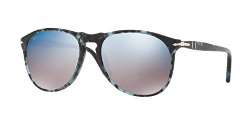 Persol  Men's 0PO9649S Spotted Blue Dark Grey/Grey Mirror Blue One - Keyhole Persol Sunglasses
