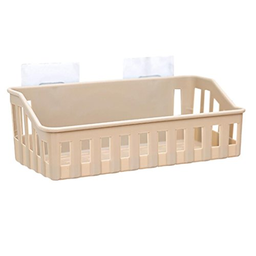 Hot Kanzd Bathroom Storage Cup Holder Shelf Shower Caddy Tool Organizer Rack Basket Sucker (Khaki) free shipping