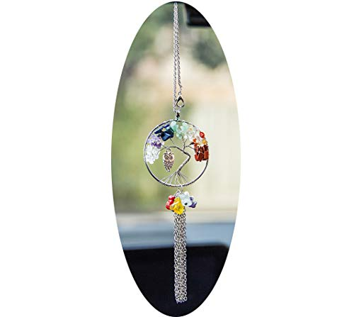 Boltz Tree of Life Pendant Car Charm Rear View Mirror Accessories, Sweater Chain Necklace Gemstone Chakra Jewelry (Owl)