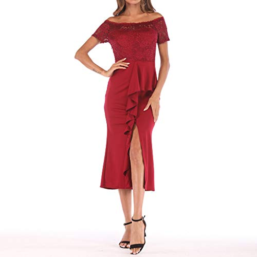One Shoulder Lace,Youngh Fashion Women One Shoulder Lace Splice Off Shouder Casual Long Dress Red by Youngh Dress (Image #4)