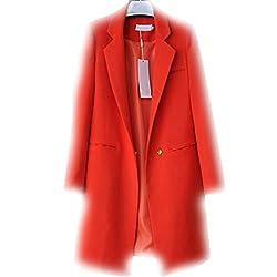 Molif Women Blazers Jackets Spring Autumn Casual Long Women Suits Wide Waisted Solid Female Jacket Dark Orange Xl