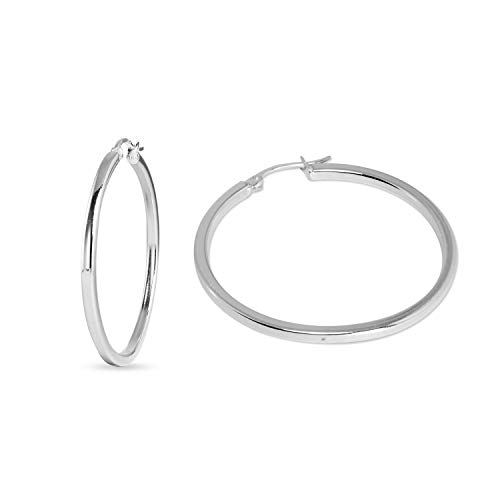 - Sea of Ice Sterling Silver Polished Finish 2mm Square-Tube Hoop Earrings for Women (30mm - 1 1/5