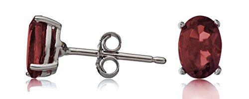 Sterling Silver Garnet Oval Stud Earrings Genuine (Sterling Earrings Garnet Silver Oval)