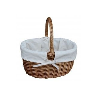 Large Double Steamed White Lined Wicker Shopping Basket