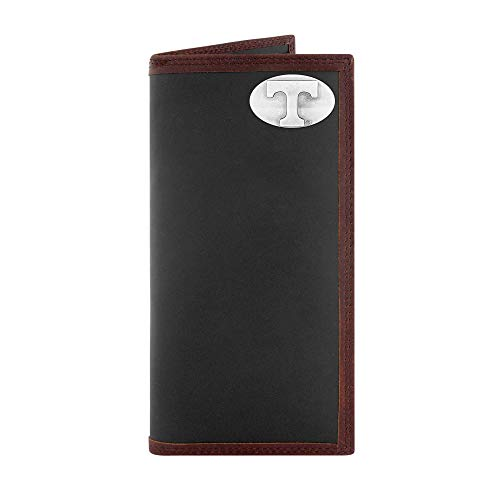 (ZEP-PRO NCAA Tennessee Volunteers, Black and Brown Leather Roper Concho Wallet, One Size)