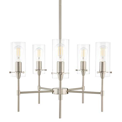 Effimero 5 Light Chandelier Brushed Nickel Hanging Light Fixture LL-C35-BN