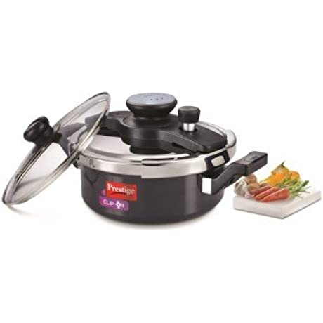 Prestige CLIP ON MINI HARD ANODISED PRESSURE COOKER 2 L WITH GLASS LID