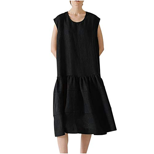 Witspace Fashion Women Summer Cotton and Linen Solid Color Sleeveless Long Dress