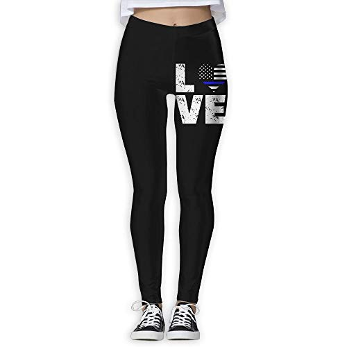 (Love Thin Blue Line USA Flag Female Full Length Wire-Free Pants Leggings)