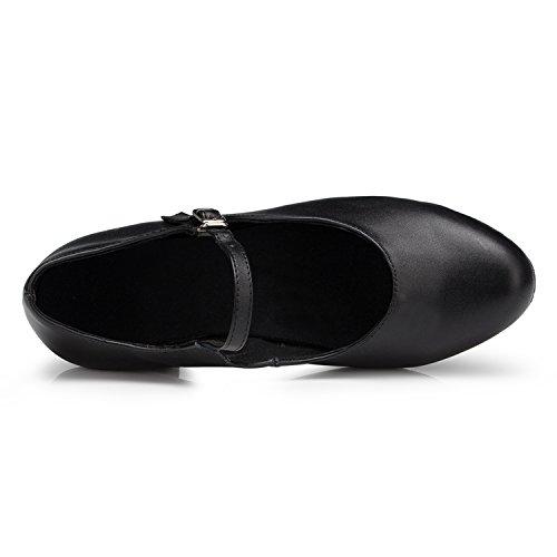 UK Heel Dance Low Pumps Ladies Black Taogo Leather 5 Ballroom Mary 3 TH168 Latin Jane Wedding MINITOO Chunky 4xTnqF4