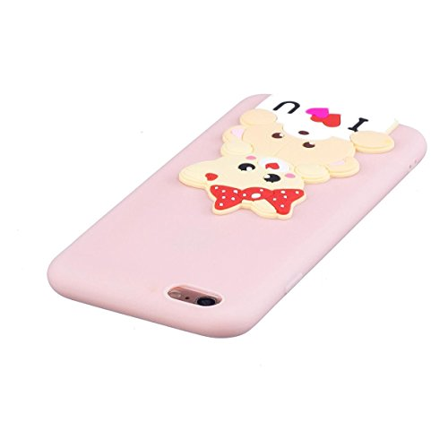 Funda iPhone 6 Plus Silicona, Carcasas iphone 6S Plus Case Cover Dibujos Animados Flexible TPU Opaco Ultra Delgado Ultra Ligero Goma Caja Suave Gel Shock-Absorción,Anti-Arañazos y Anti-Choque Bumper P Oso lindo