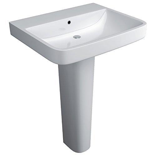 Washbasin 1 Tap (Supreme 600 Bathroom 1 Tap Hole Sink Wash Basin & Full Floorstanding Pedestal by JTPickfords-Bathrooms.co.uk)