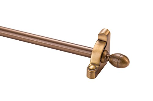 Zoroufy Heritage Collection Brass Tubular 36 in. x 1/2 in. Diameter Antique Brass Set with Acorn Finials