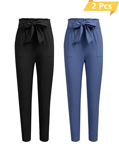 Freeprance Women's Pants Casual Trouser Paper Bag Pants Elastic Waist Slim PocketsFKZ1_ZH4_HL_L