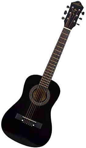 ZZRS 6弦ギター旅行、パッケージはすべての付属品、デジタルチューナー、弦、ピック、トレモロバー、ショルダーストラップ、そしてケースバッグ(30インチ)を含みます (Color : Black)