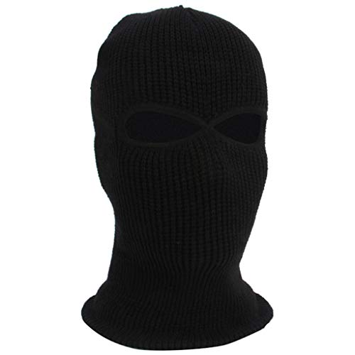 (Balaclava Face Mask 3-Hole Knitted Full Face Cover Ski Mask Adult Winter Warm Knit Beanie (Black))