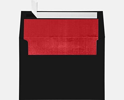 Black Lined Envelope - Black w/Red Lux Lining A7 Foil Lined Invitation Envelopes (5 1/4 x 7 1/4) (Pack of 50)