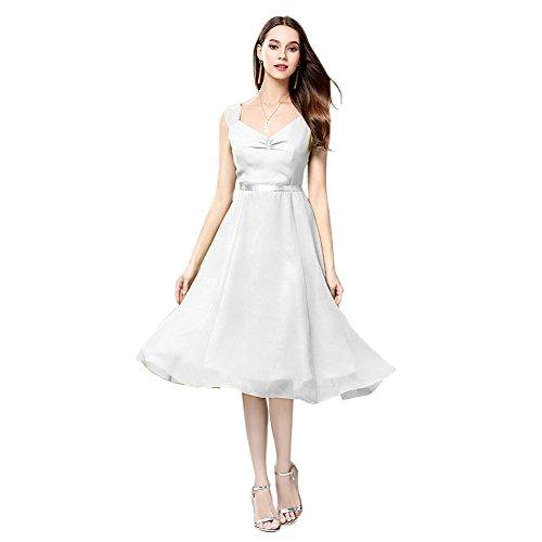 Robes En Mousseline De Soie Robe De Femmes Cotylédons Sans Manches Courtes Col V Blanc