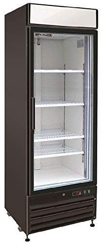 Refrigerator Cf Panels Door (Chef's Exclusive CE322 Commercial 1 Hinged Swing Single Glass Door Refrigerator Merchandiser Cooler Display Showcase LED 23 Cubic Feet 4 Adjustable Shelves Digital Controller Lock, 27 Inch Wide, Black)