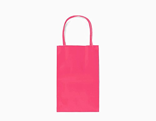 24CT SMALL HOT PINK BIODEGRADABLE, FOOD SAFE INK & PAPER, PREMIUM QUALITY PAPER (STURDY & THICKER), KRAFT BAG WITH COLORED STURDY HANDLEs (Small, Hot -