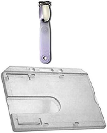Waizmann.IDeaS® Ausweisset Ausweis Set - Kartenhalter Ausweishülle Ausweishalter Hartplastik Polycarbonat Daumenschub mit Clip Lasche HORIZONTAL