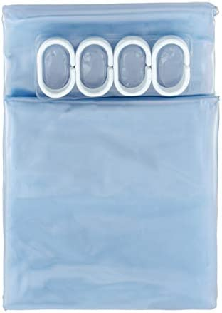 """Amazon Basics Water Resistant Vinyl Shower Curtain Liner with Metal Grommets and Plastic Hooks - 72"""" x 72"""", Clear"""