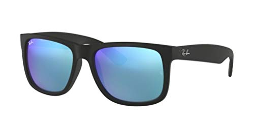 Sunglasses Black Blue (Ray-Ban RB4165 JUSTIN 55mm Black w/ Blue Mirror Sunglasses)