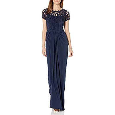 Adrianna Papell Women's 3/4 Sleeve Gown with Lace Bodice and Jersey Draped Skirt: Clothing