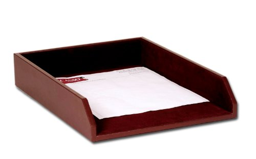 Dacasso Chocolate Brown Leather Letter Tray, Legal Size by Dacasso