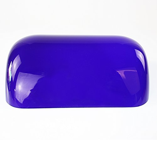 Newrays Glass Bankers Lamp Shade Cover Replacement L8.85 W5.3 (Blue)