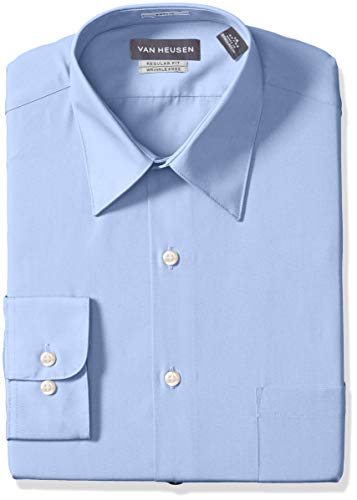 "Van Heusen Men's Poplin Regular Fit Solid Point Collar Dress Shirt, Cameo Blue, 17.5"" Neck 34""-35"" Sleeve"