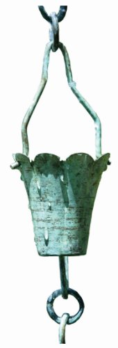 Patina Products R252 Verdigris Fluted Cup Rain Chain Full -