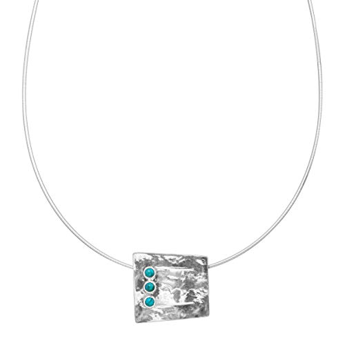 Silpada 'Juniper' 1/3 ct Reconstituted Turquoise Square Pendant Necklace in Sterling Silver