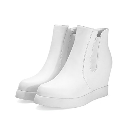 A Womens Boots Platform Heighten Imitated Elastic Band Leather Inside amp;N White SgSwqH