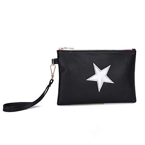 chiusura modello Borse delle tracolla della trucco spalla Borse stella borsa della a pelle a della moneta della frizione modo di donne da di del YanHoo di Sacchetto Nero della lampo della donna borsa SwqPP61