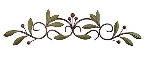 31 inch Wide Leaf and Berry Metal Wall Decor 31 x 6 (Olive Decor Kitchen)