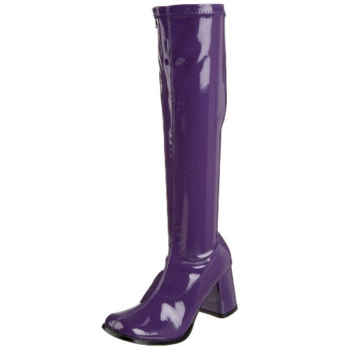 Funtasma by Pleaser Women's Gogo-300 Boot,Purple Stretch Patent,8 (Blue Go Go Boots)
