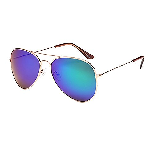 JJLIKER Unisex Classic Aviator Sunglasses Mirrored Polarized Protection Lightweight Double Bridge Metal Frame Goggles Dragon Wrap Around Sunglasses
