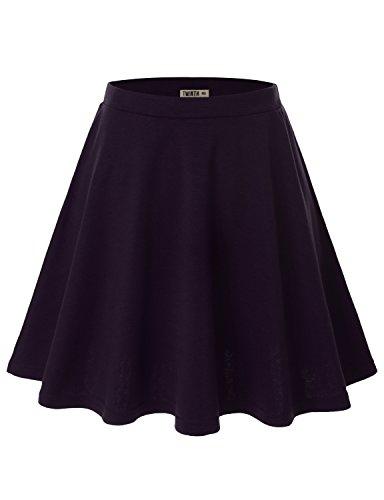 Doublju Women Plus-size Solid Color Elastic Waist Band Flared Skater Skirt Cwbss03_Darkviolet XL