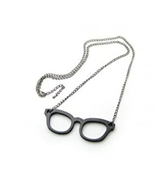 Crunchy Fashion Black Metal Specs Necklace for Women