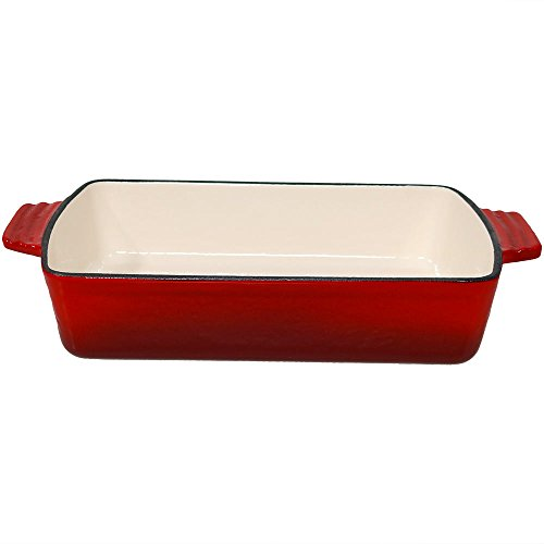 Sunnydaze Deep Baking Dish Roasting Lasagna Pan, Enameled Cast Iron, 11.5 Inch, Red (Pan Iron Lasagna Cast)